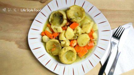Artichoke stew a la polita with dill herb